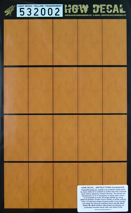 1/32 Decals Light Wood - YELLOW (transparent)