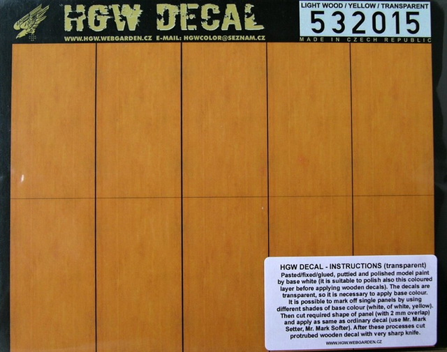 1/32 Decals Light Wood - YELLOW (transpar.) SMALL