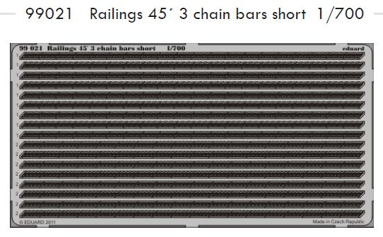 1/700 Railings 45´ 3 chain bars short