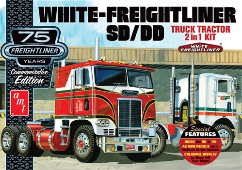 1/25 White Freightliner 2-IN-1 SC/DD Cabover Tractor