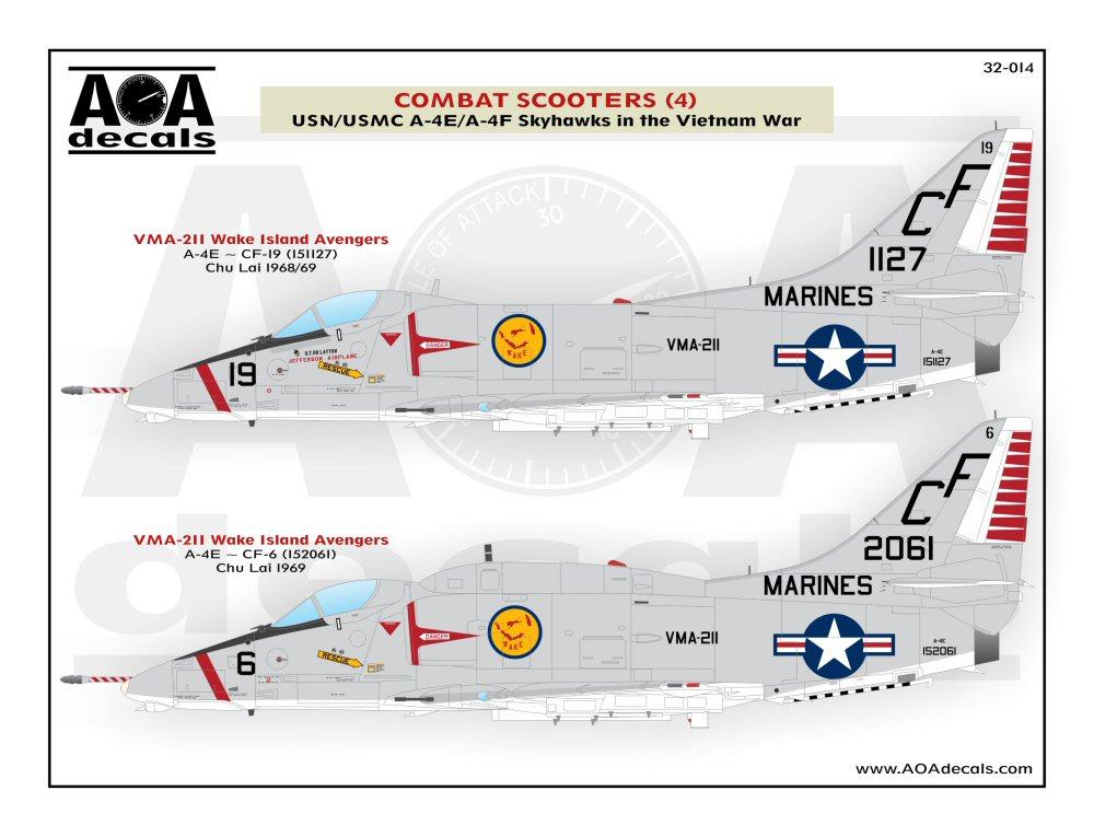 AOA Decals 1//48 COMBAT SCOOTERS Part 1 USN /& USMC A-4C A-4E SKYHAWKS IN VIETNAM