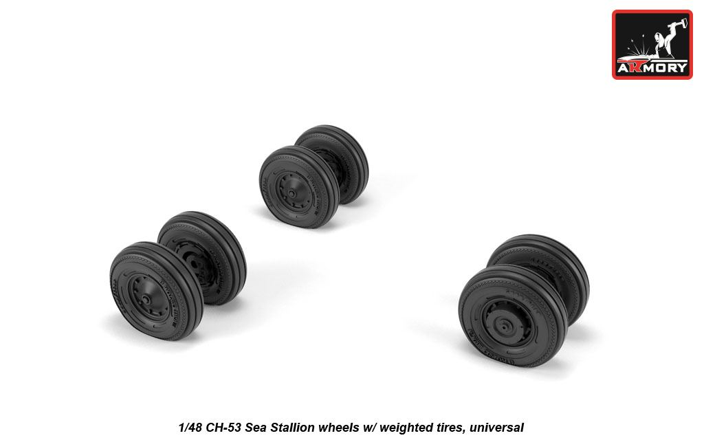1/48 CH-53 Sea Stallion wheels with weighted tires universal