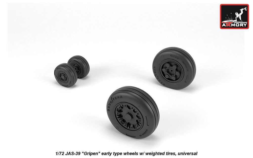 1/72 Saab JAS-39 Gripen wheels with weighted tires early