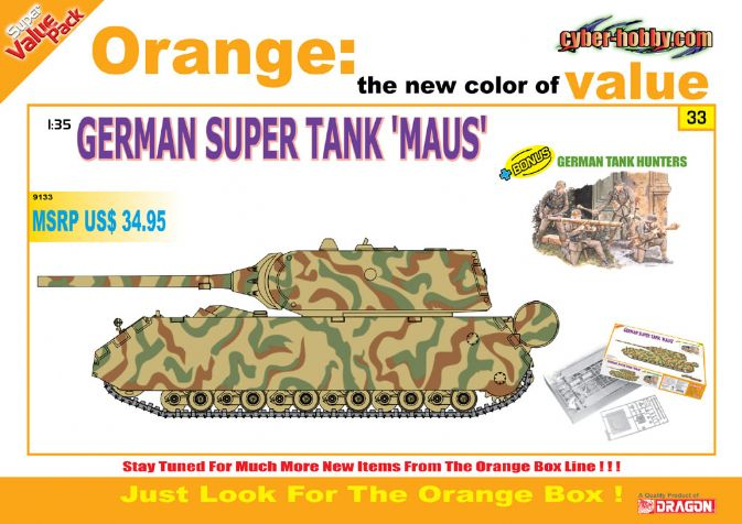 1/35 German Maus Super Tank + 4 German Tank Hunter Soldiers