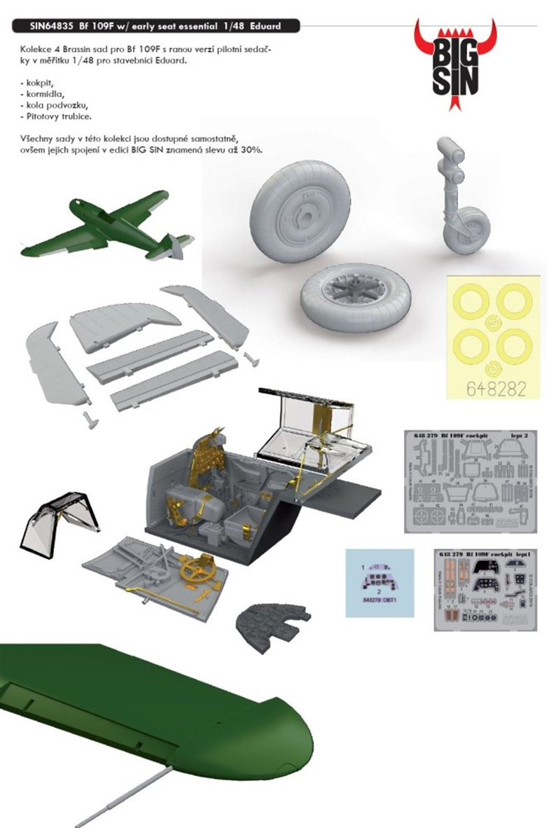 BIGSIN 1/48 Bf 109F with early seat essential