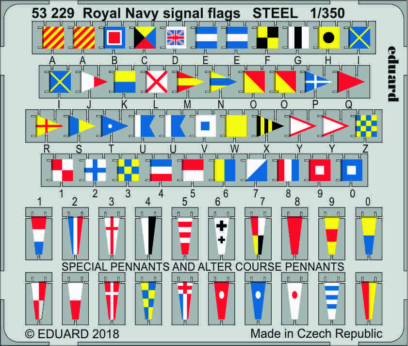 SET 1/350 Royal Navy signal flags STEEL