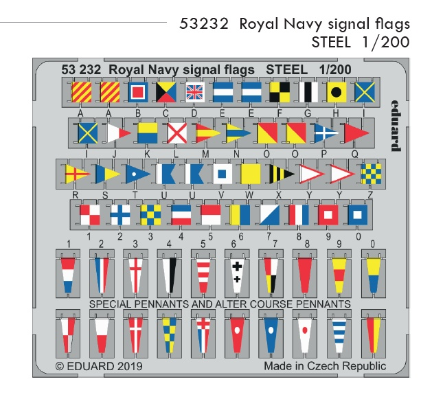 SET 1/200 Royal Navy signal flags STEEL