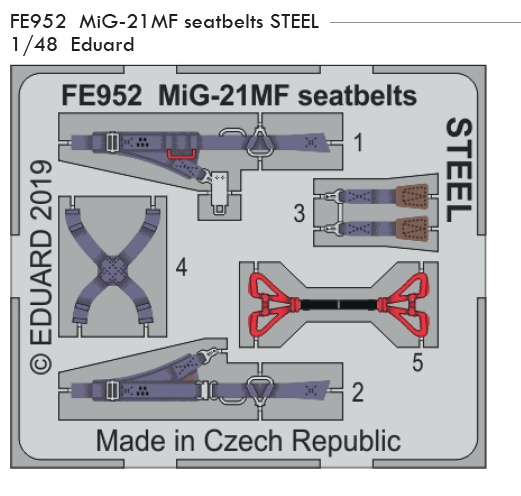 1/48 MiG-21MF seatbelts STEEL