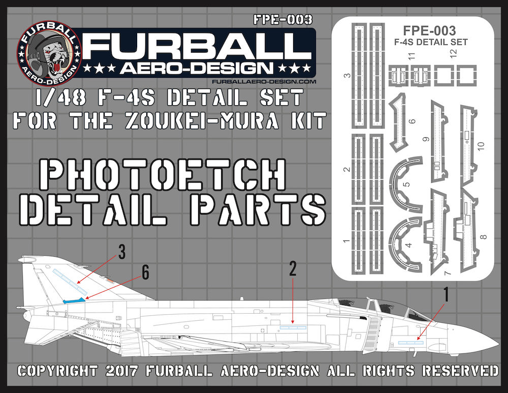 1/48 McDonnell F-4S Phantom Canopy and Airframe Detail Set