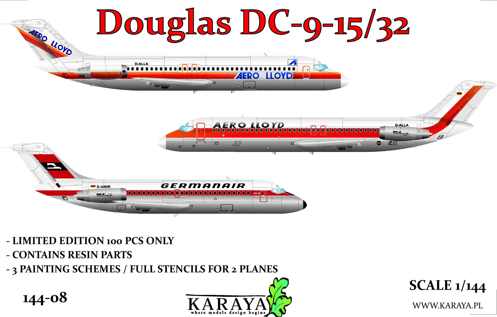 1/144 Douglas DC-9-15/32 limited plastic kit for DC-9 in German