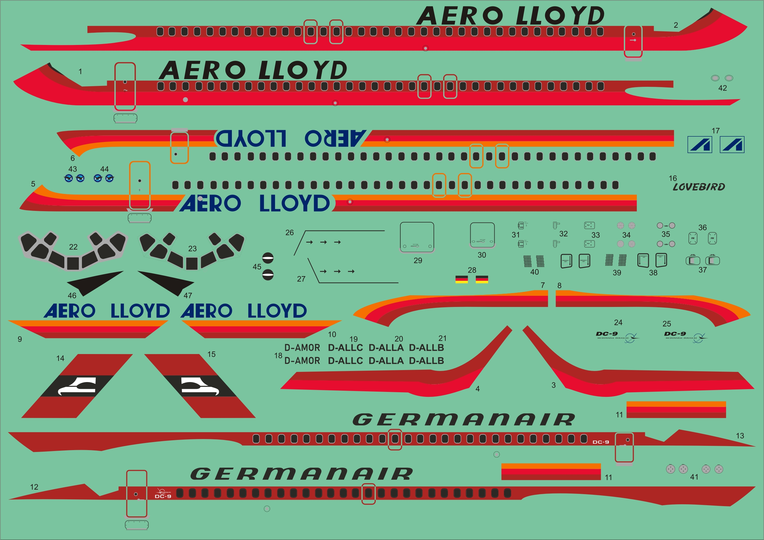 1/144 Douglas DC-9-15 Germanair and DC-9-32 Aero Lloyd
