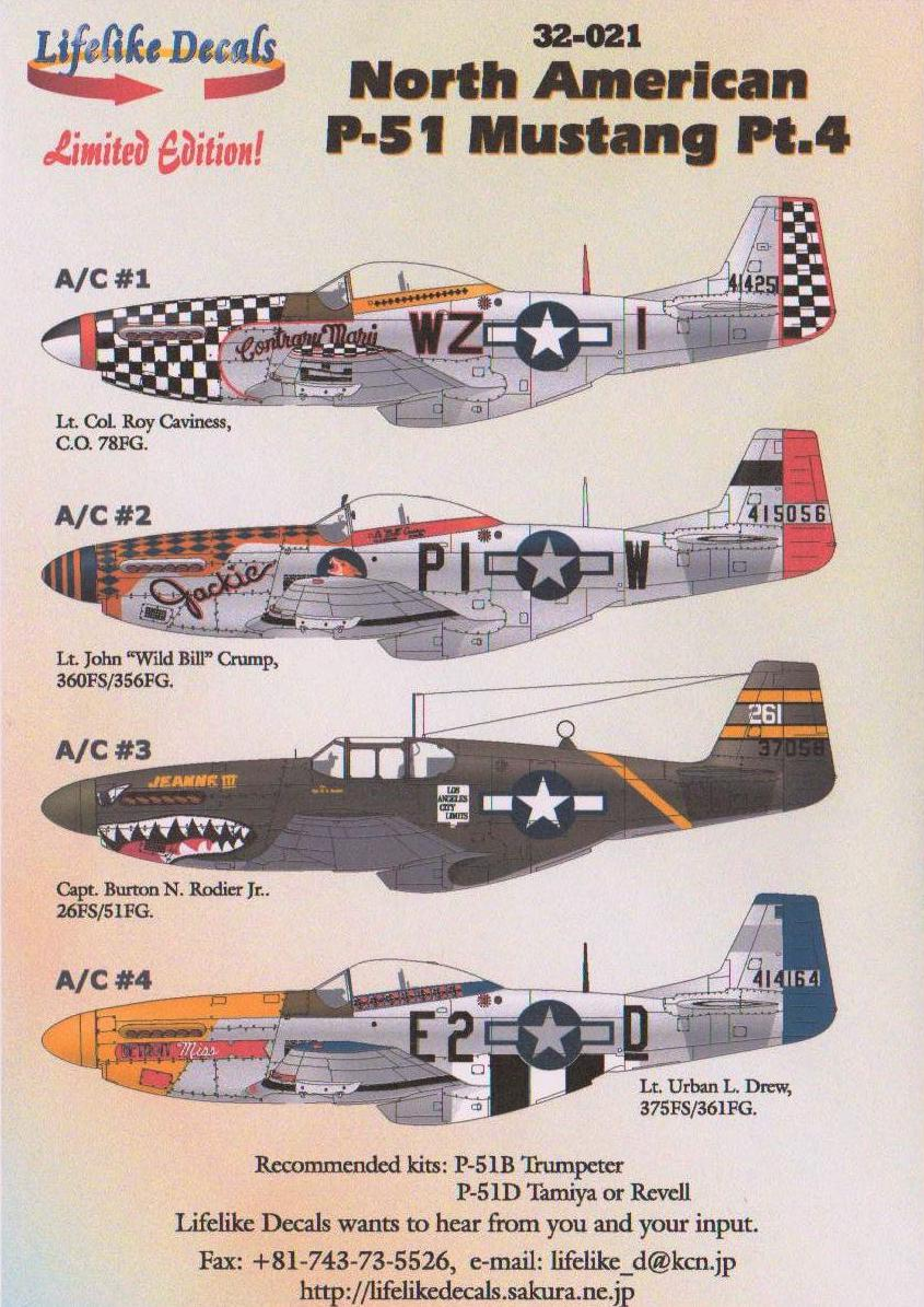 1/32 P-51 Jeanne III, Detroit Miss, Contrary Mary, Jackie