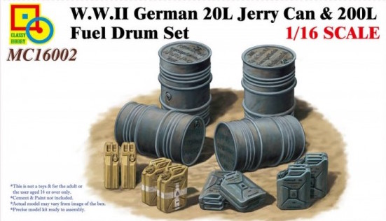 1/16 WWII German 20L Jerry Can & 200L Fuel Drum Set.