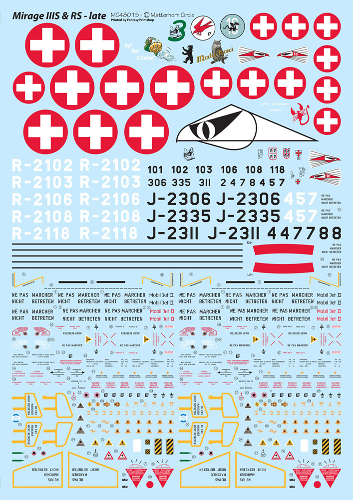 1/48 - Mirage IIIS & RS late decals