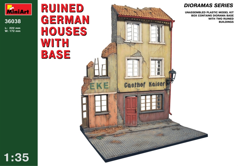 1/35 Ruined German houses with base