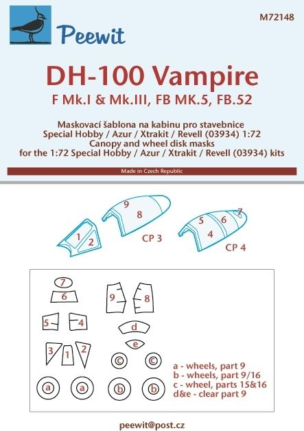 1/72 Canopy mask DH-100 Vampire
