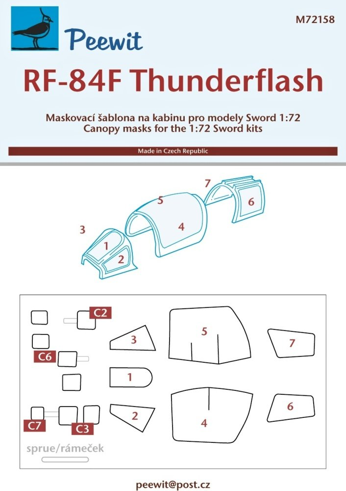 1/72 Canopy mask RF-84F Thunderflash