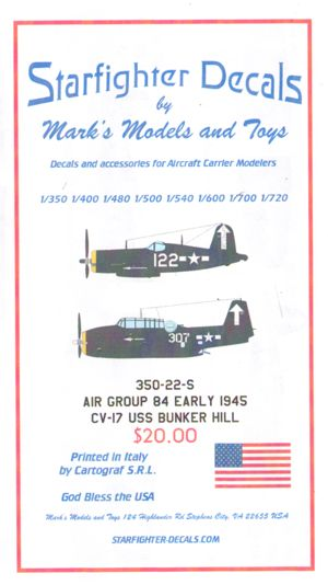 1/350 Air Group 84 Early 1945. Decals only