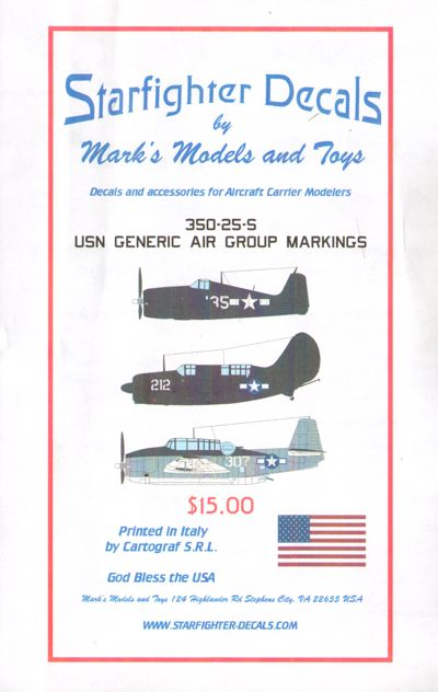 1/350 USN Generic Air Group Markings 1945. Decals only