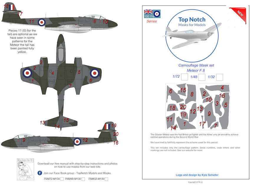1/72 Gloster Meteor F.8 camouflage pattern paint mask