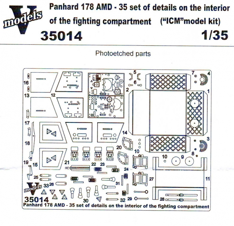 1/35 Photo-etched set 3 Panhard 178AMD-35 interior